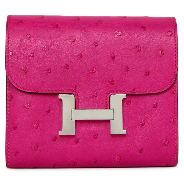 Hermes Rose Pourpre Ostrich Constance Compact Wallet