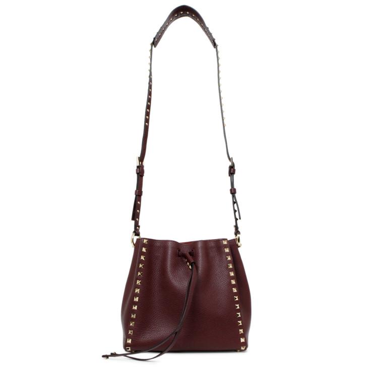 Valentino Burgundy Grained Calfskin Small Rockstud Bucket Bag