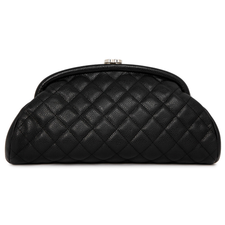 Chanel Black Quilted Caviar  Timeless Clutch