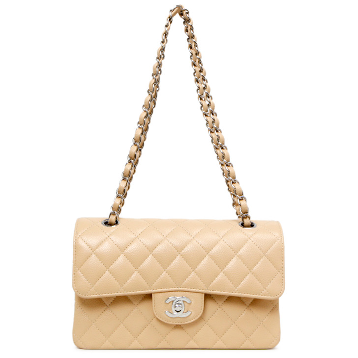Chanel Beige Quilted Caviar Small Classic Double Flap
