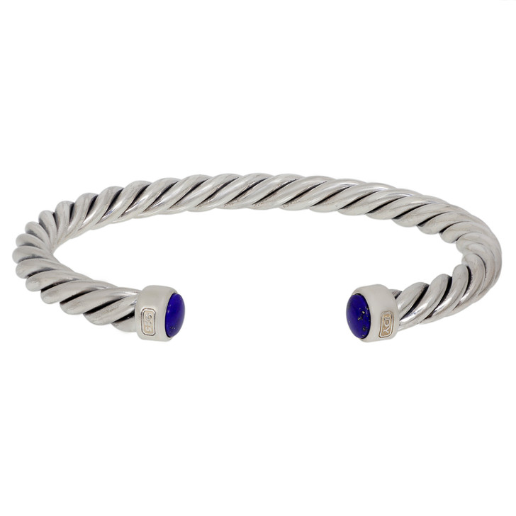 David Yurman Sterling Silver Lapis 6mm Cable Cuff Bracelet
