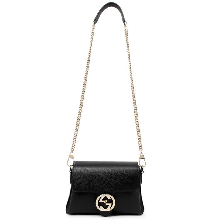 Gucci Black Calfskin Dollar Interlocking G Crossbody Bag