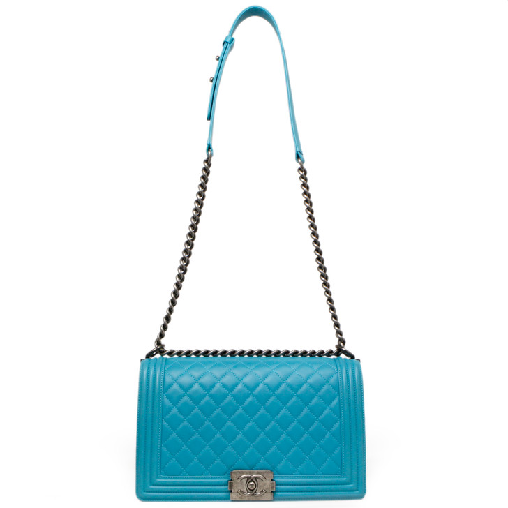 Chanel Turquoise Quilted Lambskin New Medium Boy Bag
