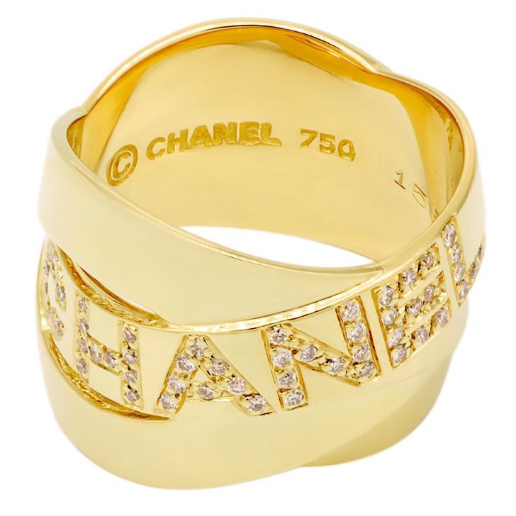 Chanel 18K Yellow Gold Diamond Interlaced Band Ring