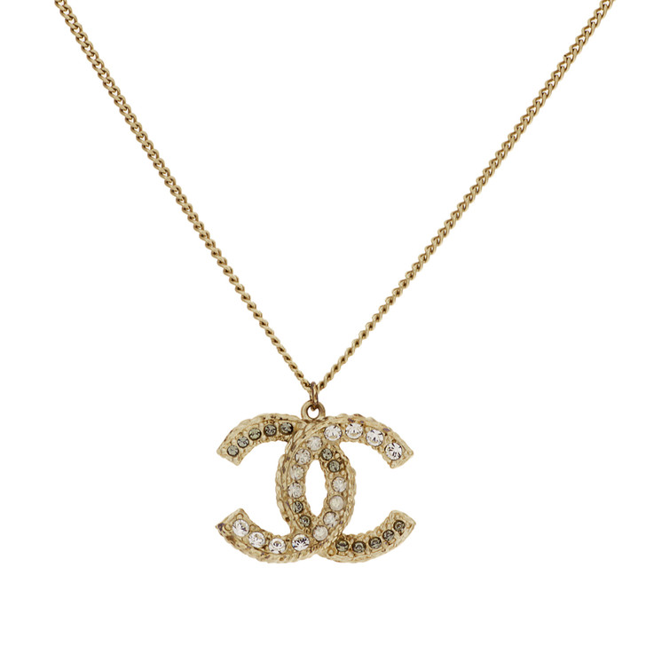 Chanel Crystal Resin CC Pendant Necklace