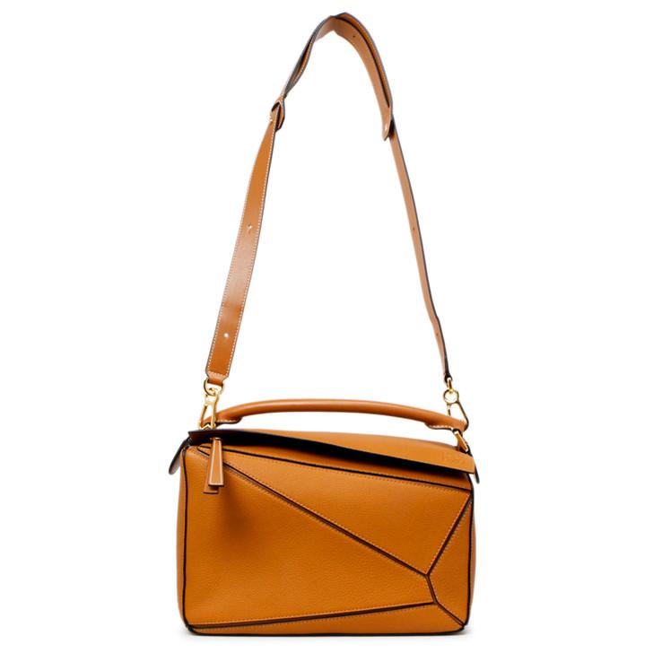 Loewe Tan Calfskin Medium Puzzle Bag