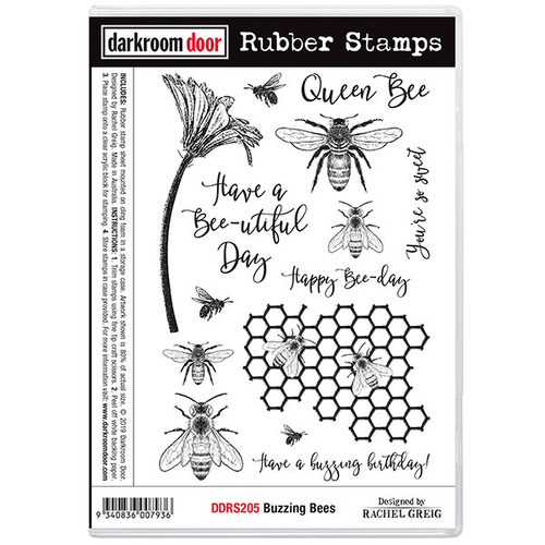 rubber stamp - buzzing bees