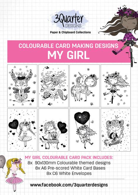 colourable card kit - my girl