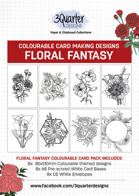 colourable card kit -floral fantasy