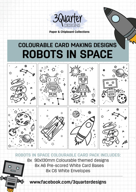 colourable card kit - robots in space