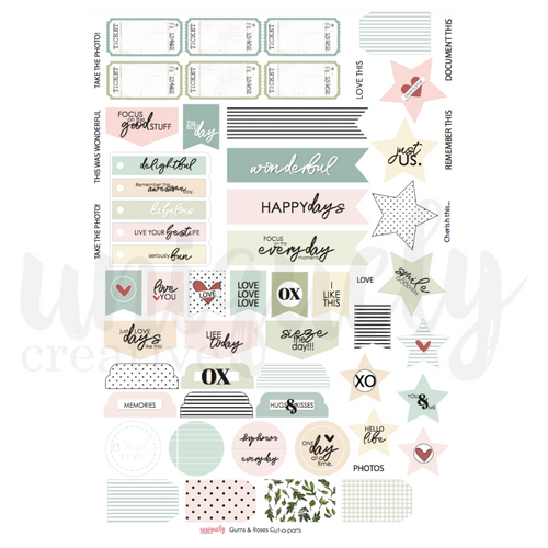 gums & roses cut-a-part sheet