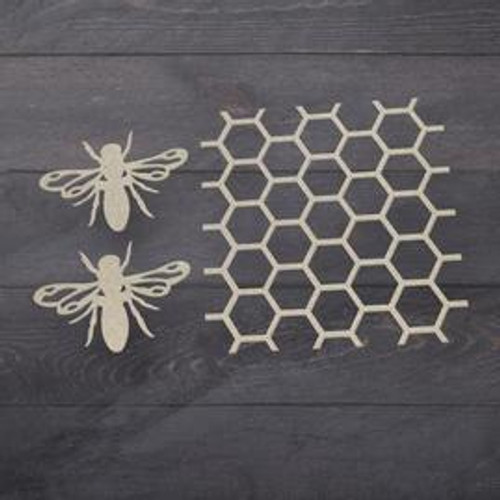 beehive & bees chipboard set