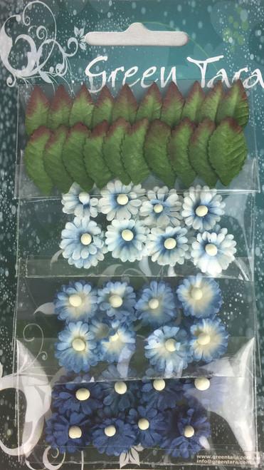 mimosas & leaves bright blue