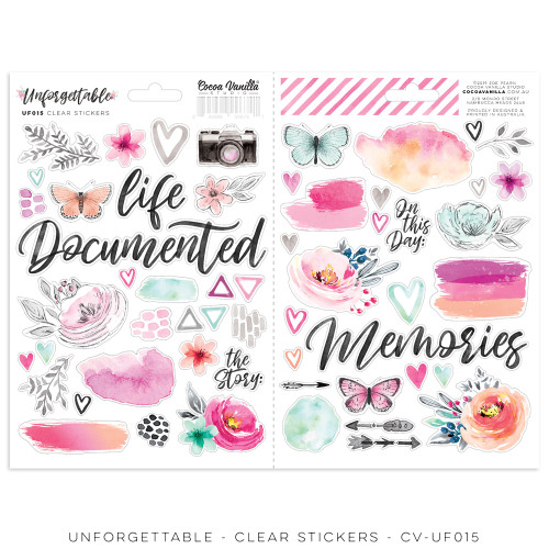 unforgettable - clear stickers