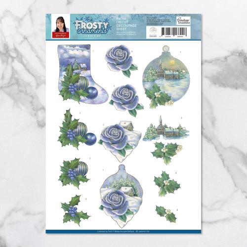 frosty ornaments - blue rose