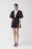 Andrea Linen Ramie Playsuit - black