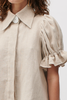 LYDIA LINEN CANVAS SHIRT - Natural Linen
