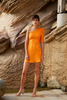 Shell Shoulder Sleeve Mini Dress - TANGERINE
