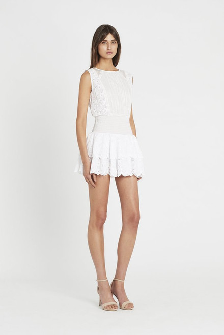 Gabriel Embroidered Ruched Mini Dress - Blanc