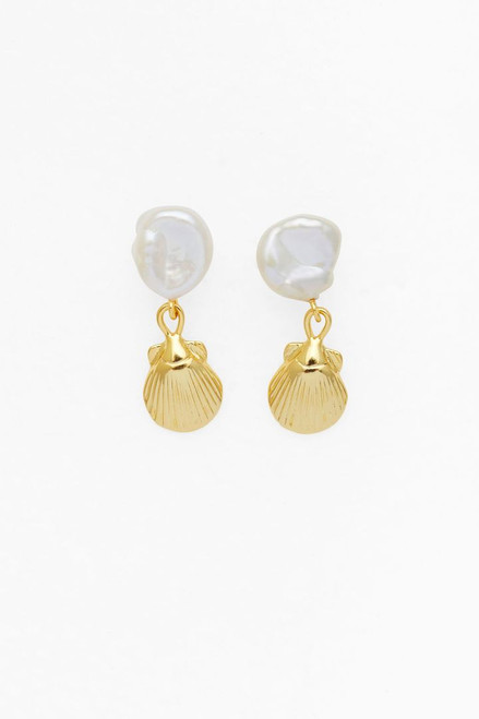 Petite Seashell & Pearl Earrings- Gold - Pearl