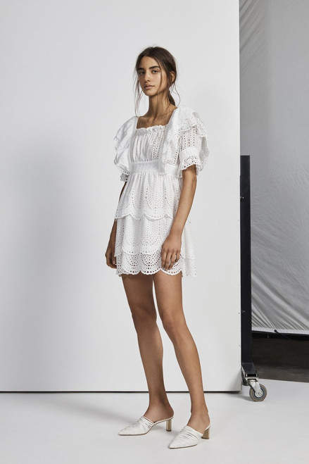 Leila Ruffle Mini Dress - Ivoire