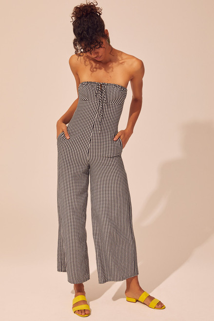 Strapless Jumpsuit - Black Gingham