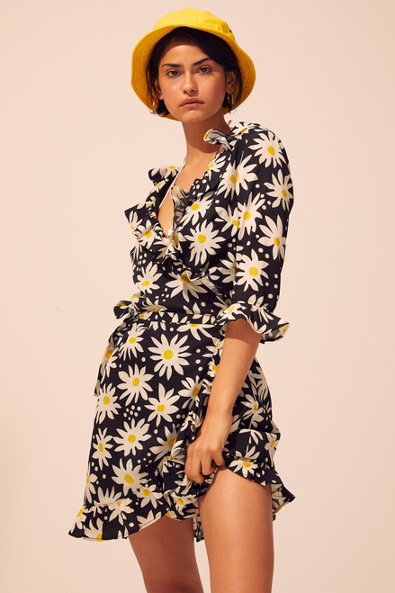 Wrap Dress - Graphic Daisy