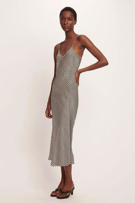 90's Silk Slip Dress - Houndstooth