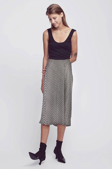Bias Cut Silk Skirt - Houndstooth