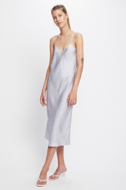 90S SILK SLIP DRESS LILAC LOGO