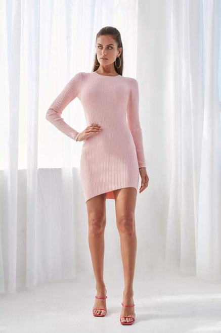 DOUBLE RIB LONG SLEEVE MINI DRESS -