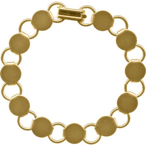 GOLD BRACELET DISK LOOP - 8.25in