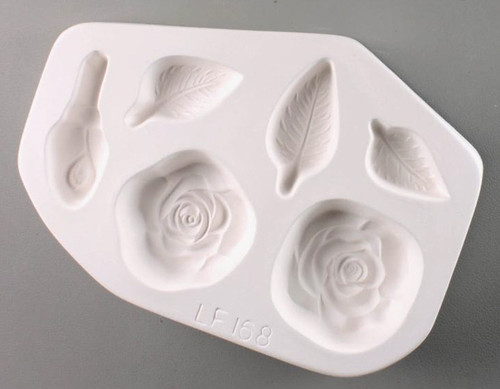 LF168 ROSES LEAVES FRIT GLASS MOLD