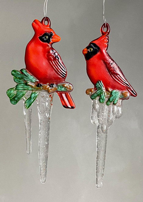 LF217 Cardinals Icicle Ornament Frit Glass Mold