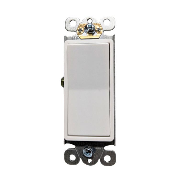 Decorator Switch, Single Pole, 15A-120V/277V AC, Self-Grounding