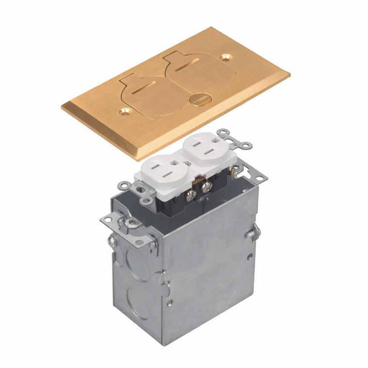 Floor Box Assembly, Rectangular 1-Gang Flip Cover, Brass