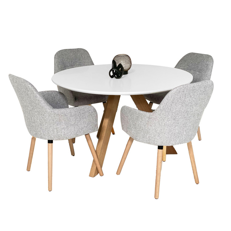 Murris Milan 5pc Dining Set - Light Grey