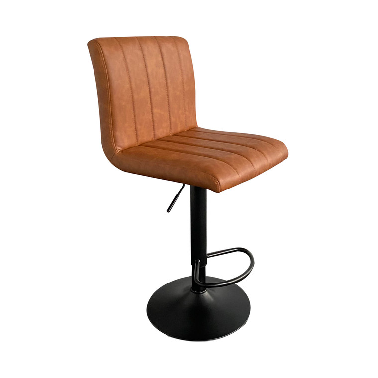 Cici Stool in Brown Faux Leather