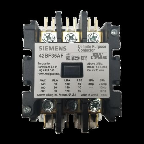 Siemens 42BF35AF 30 Amp 120 Coil Voltage 3 Pole Contactor