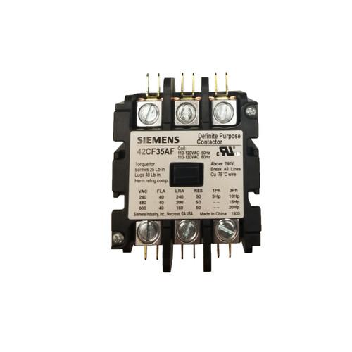 Siemens 42CF35AF 40 Amp 120 Coil Voltage 3 Pole Contactor