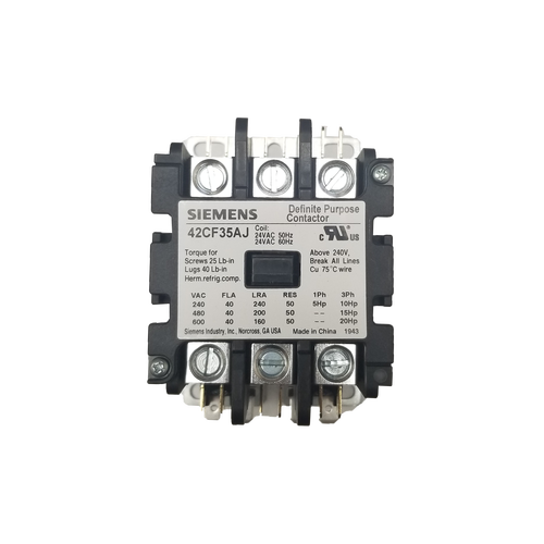 Siemens 42CF35AJ 24 Coil Voltage 3 Pole Contactor