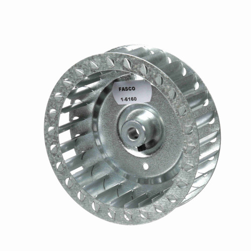 "Fasco 1-6160 4-17/32"" Diameter 1-1/4"" Width 5/16"" Bore CW Single Inlet Blower Wheel"