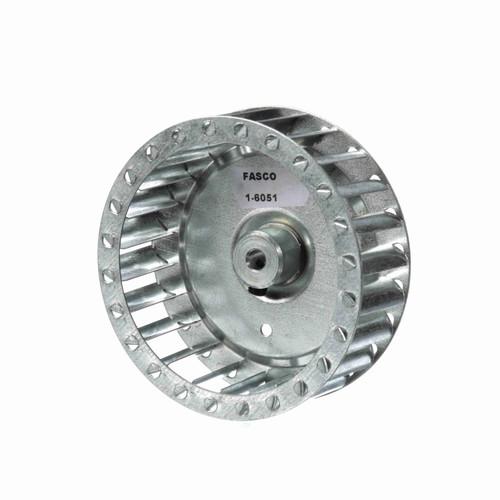 """Fasco 1-6051 3-27/32"""" Diameter 1-13/64"""" Width 1/4"""" Bore CCW Single Inlet Blower Wheel"""