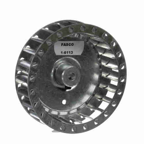 """Fasco 1-6113 3-27/32"""" Diameter 1"""" Width 1/4"""" Bore CW Single Inlet Blower Wheel"""