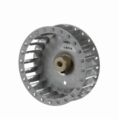 """Fasco 1-6114 3-27/32"""" Diameter 1-1/4"""" Width 1/4"""" Bore CW Single Inlet Blower Wheel"""