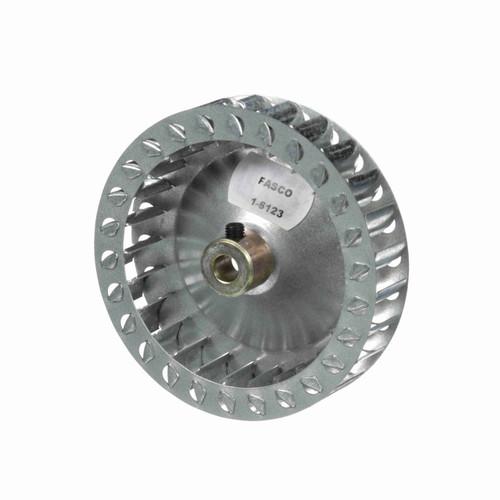 """Fasco 1-6123 4"""" Diameter 7/8"""" Width 5/16"""" Bore CW Single Inlet Blower Wheel"""