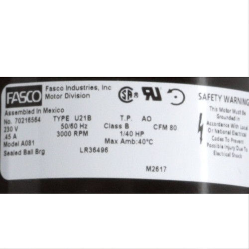 Fasco A081 3000 RPM 230 Volts OEM Replacement Draft Inducer Blower