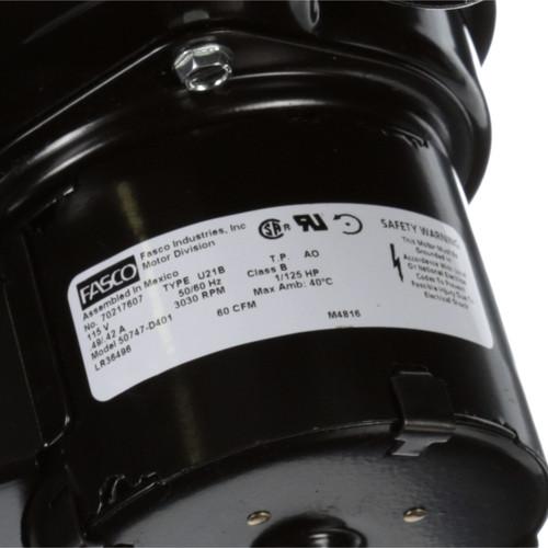 Fasco 50747-D401 60 CFM 3030 RPM 115 Volts Centrifugal Blower