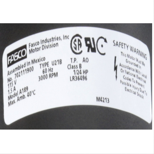 Fasco A189 3000 RPM 115 Volts OEM Replacement Draft Inducer Blower