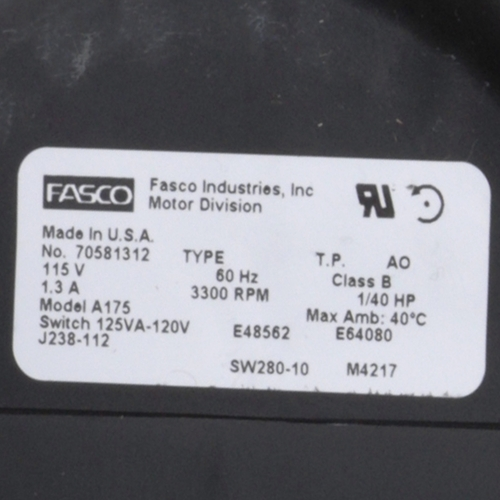 Fasco A175 3300 RPM 115 Volts OEM Replacement Draft Inducer Blower